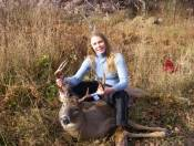 This is an amazing Whitetail that I helped scout.  The deer trails looked like cow paths with so much deer sign I was mesmerized.  What a huge monster buck.