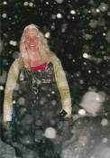 Frozen Hair in the most amazing snowstorm I have ever seen.  Kellie Nightlinger, Vera Doyle, Sydney Young, Tim N., and Russ N. were all stranded overnight in two four-wheel drive trucks, one an F-250.  It was the worst blizzard I have ever seen.  We were there to locate and rescued a lost hunter that got trapped in the snowstorm.  We ate Sugarbeets (deer bait) to survive.  It took a D-8 Bulldozer to plow the road for ten miles to get to the trucks.  When the D-8 Bulldozer got to the trucks, they removed the snow around the vehicles exposing the vehicles were sitting on top of four feet of snow.  The trucks then drove off of the island and back to civilization.